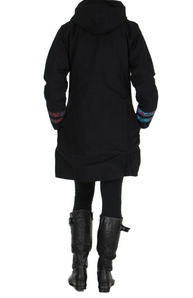 Manteau femme long psychédélique noir 266491