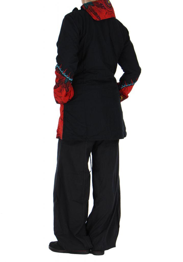 manteau femme original noir et rouge missy. Black Bedroom Furniture Sets. Home Design Ideas