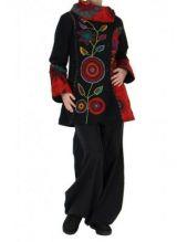Manteau femme original noir et rouge missy 266407
