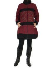 Manteau femme zippé bordeaux Balina 266620