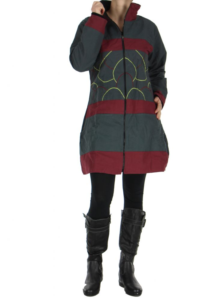 Manteau femme zippé gris Balina 266622