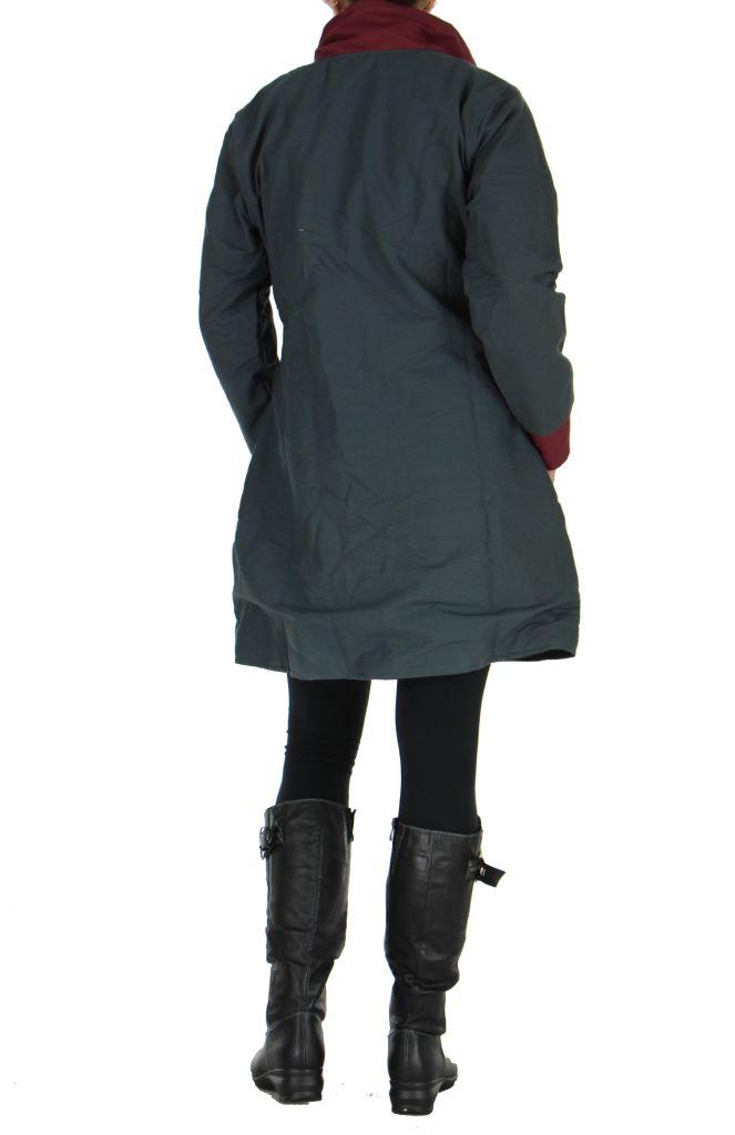 Manteau femme zippé gris Balina 266623