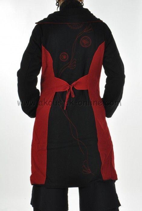 Manteau flore noir et rouge 252218
