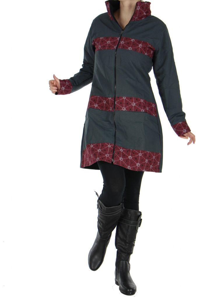 Manteau gris à fermeture éclair centrale Cloé 266518