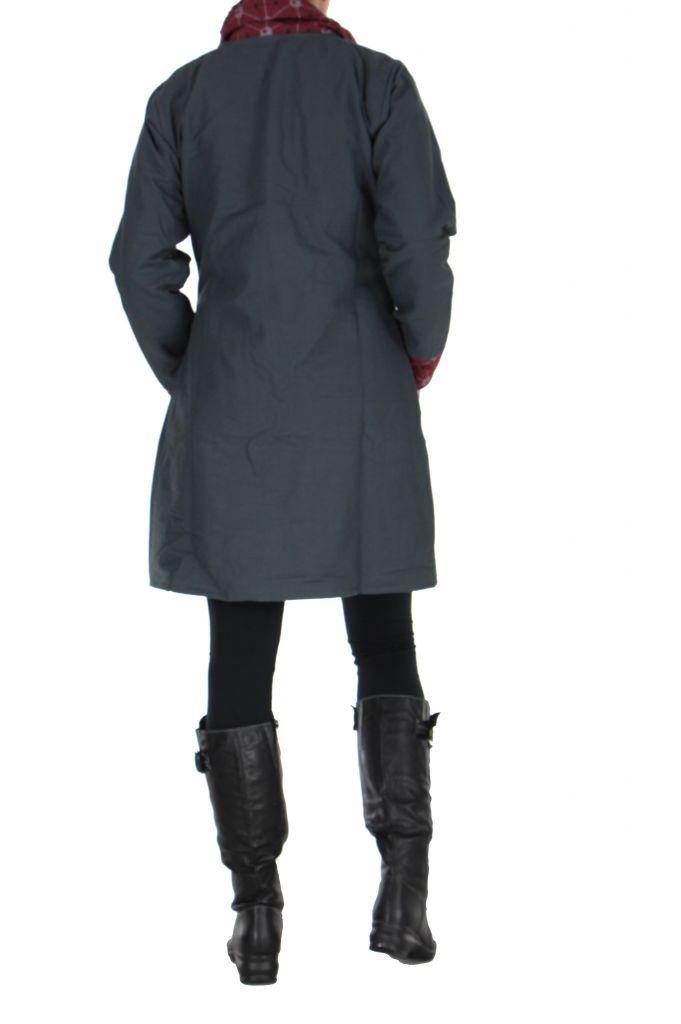 Manteau gris à fermeture éclair centrale Cloé 266519
