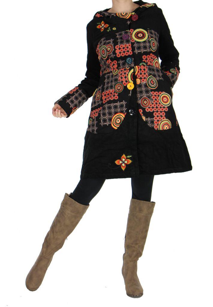 Manteau long ethnique en velours spilou noir 265298