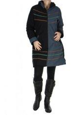 Manteau long femme noir et gris camille 266477