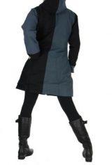 Manteau long femme noir et gris camille 266478
