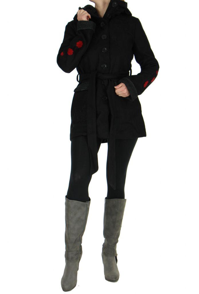 Manteau long noir à capuche calix 265268