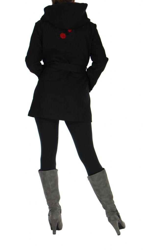 Manteau long noir à capuche calix 265269