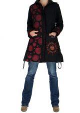 Manteau long noir ethnique pagati 265255