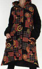 Manteau Long pour Femme Etnique et Asymétrique Adamar Noir 278008