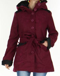 Manteau mi-long à capuche Original et Coloré Chanty Violine 277675