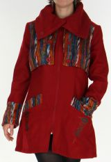 Manteau mi-long aspect Laine Ethnique et Color� S�kou Rouge 277937