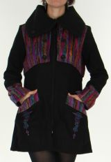 Manteau mi-long Ethnique et Color� aspect Laine S�kou Noir 277940