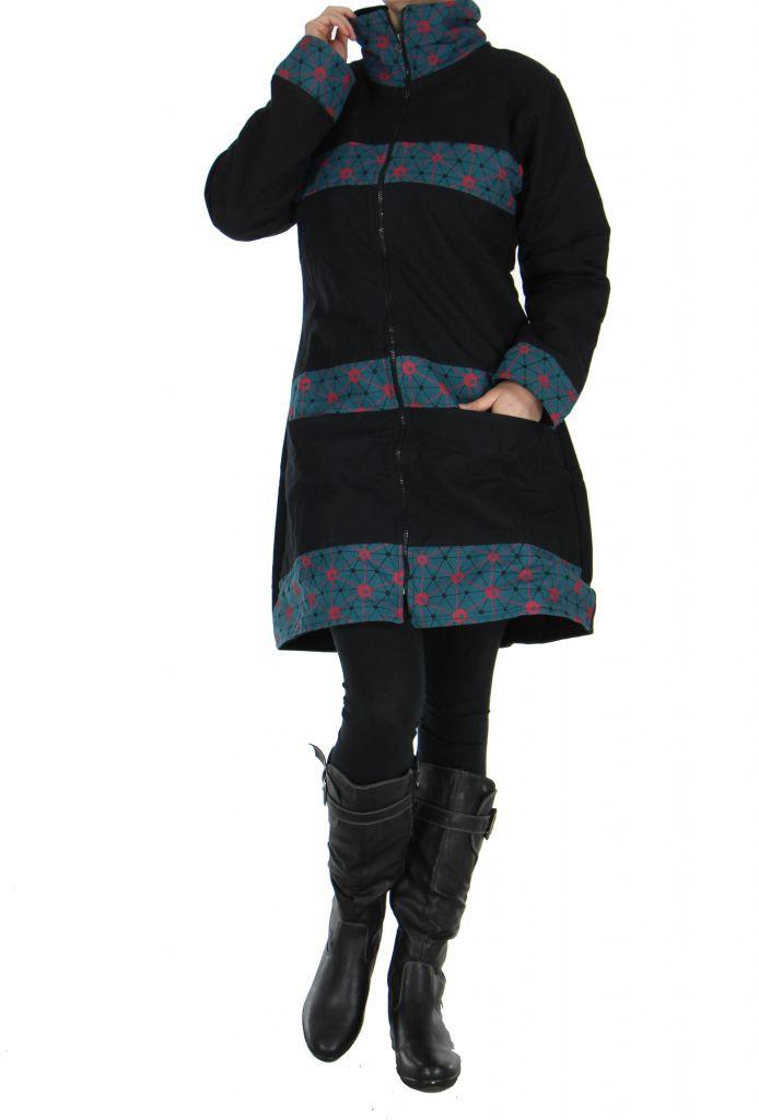Manteau noir à fermeture éclair centrale Cloé 266516