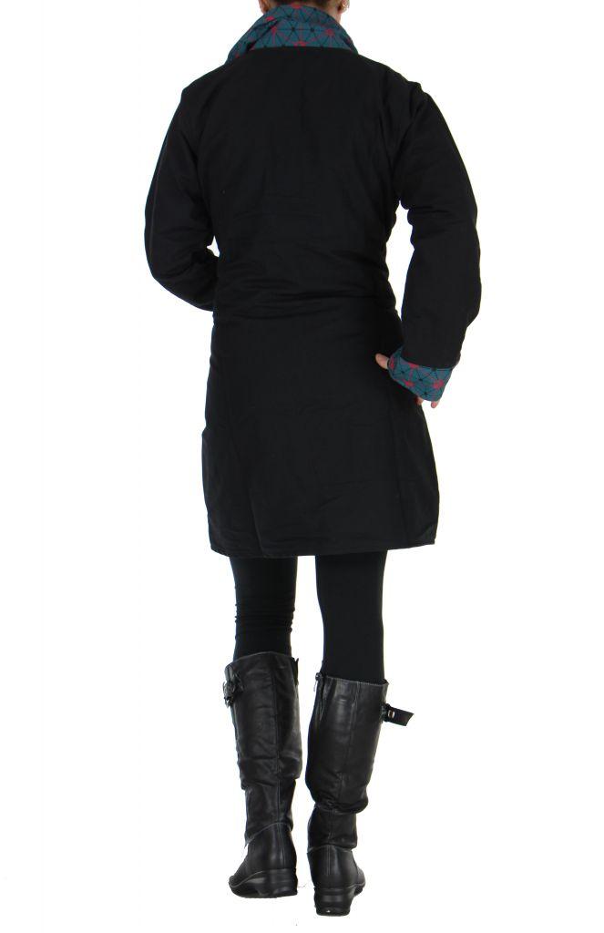 Manteau noir à fermeture éclair centrale Cloé 266517