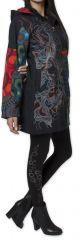 Manteau pour femme double Polaire Ethnique et Coloré Attrato Noir 276257