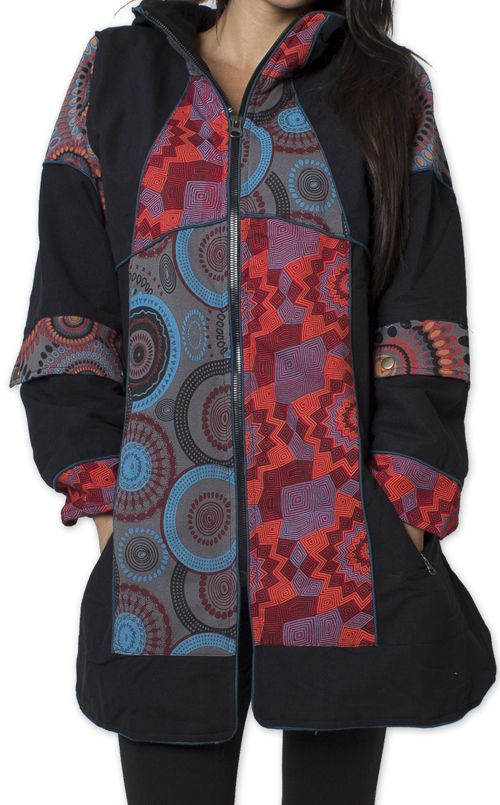 Manteau pour femme double Polaire Ethnique et Original Gambi Noir 276263