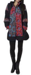 Manteau pour femme double Polaire Ethnique et Original Gambi Noir 276264