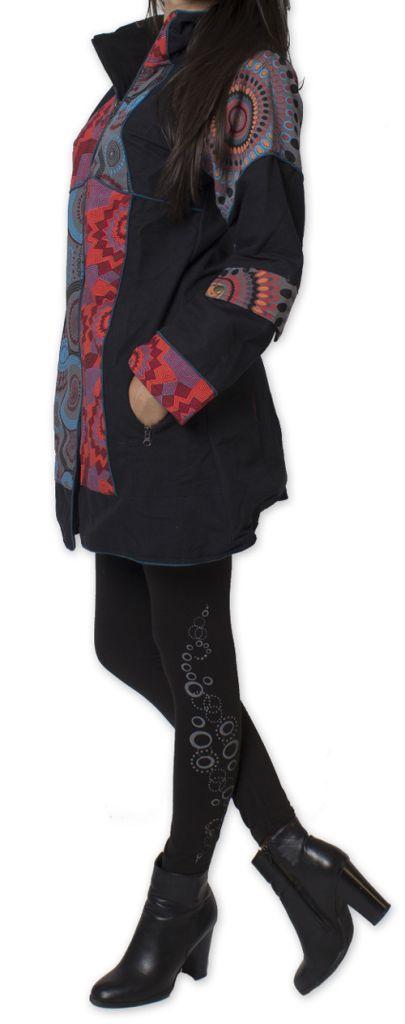 Manteau pour femme double Polaire Ethnique et Original Gambi Noir 276265