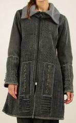 Manteau pour Femme en Velours Original et Ethnique Inca Gris fon�� 276535