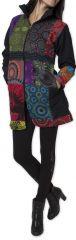 Manteau pour femme Ethnique et Coloré Amazonie Noir 276248