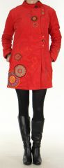 Manteau pour femme mi-long Color� et Ethnique Seylan Rouge 276113