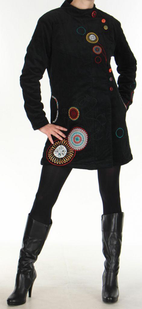 Manteau pour femme mi-long Ethnique et Coloré Seylan Noir 276111