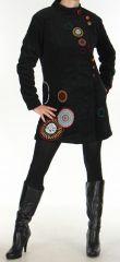 Manteau pour femme mi-long Ethnique et Color� Seylan Noir 276111