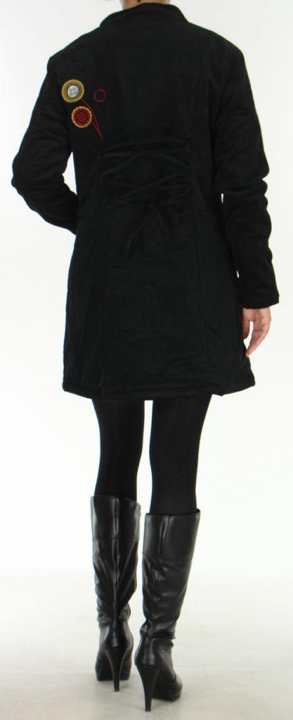 Manteau pour femme mi-long Ethnique et Coloré Seylan Noir 276112
