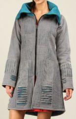 Manteau pour Femme Original et Ethnique en Velours  Inca Gris clair 276543