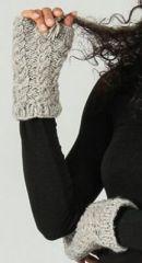 Mitaines en laine ethniques et chaudes Beige Adrienne 273199