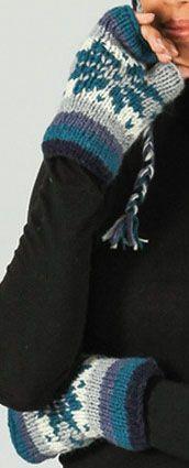 Mitaines en laine ethniques et chaudes Bleu Agnes 273197