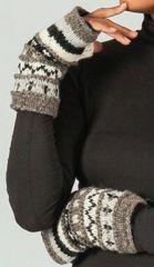 Mitaines en laine ethniques et chaudes Marron et Beige Alexia 273205