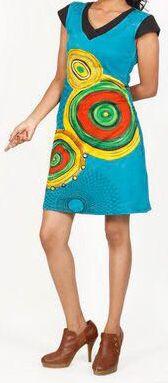 Originale robe d'été à manches courtes et colorée Bleue Rina 272177