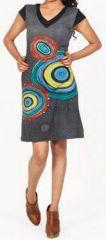 Originale robe d'été à manches courtes et colorée Noire Rina 272181