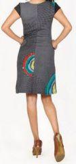 Originale robe d'été à manches courtes et colorée Noire Rina 272182