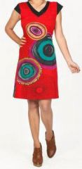 Originale robe d'�t� � manches courtes et color�e Rouge Rina 272179