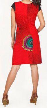 Originale robe d'été à manches courtes et colorée Rouge Rina 272180
