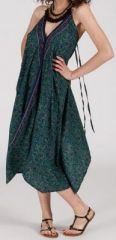 Originale robe mi-longue ethnique asymétrique Bleu/Vert Zaina 272826