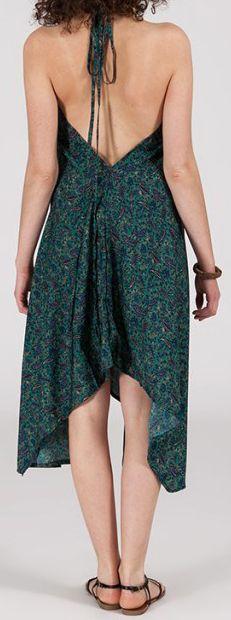 Originale robe mi-longue ethnique asymétrique Bleu/Vert Zaina 272827