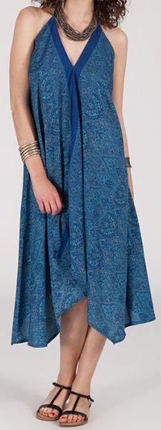Originale robe mi-longue ethnique asymétrique Bleue Zaina 272828