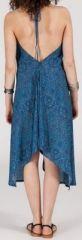Originale robe mi-longue ethnique asymétrique Bleue Zaina 272829