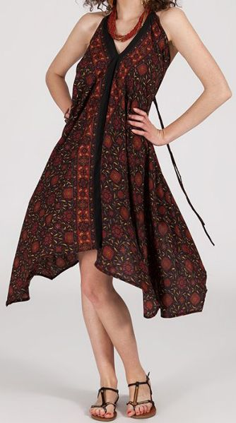 Originale robe mi-longue ethnique asymétrique Marron Zaina 272840