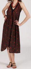 Originale robe mi-longue ethnique asymétrique Marron Zaina 272841