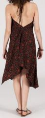 Originale robe mi-longue ethnique asymétrique Marron Zaina 272842