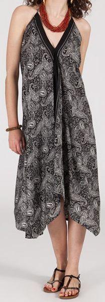 Originale robe mi-longue ethnique asymétrique Noire/Blanche Zaina 272835