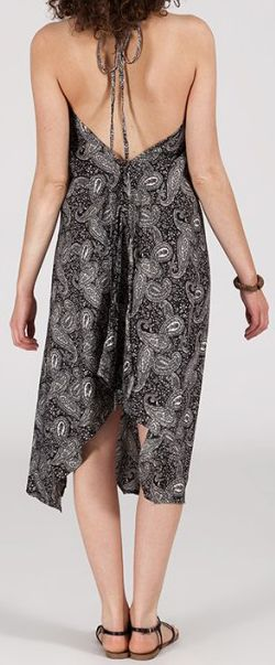 Originale robe mi-longue ethnique asymétrique Noire/Blanche Zaina 272837