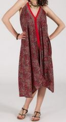 Originale robe mi-longue ethnique asymétrique Rouge/Bordeaux Zaina 272838